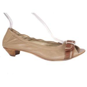 AGL Tan Leather Peep Toe Ballet Kitten Heels